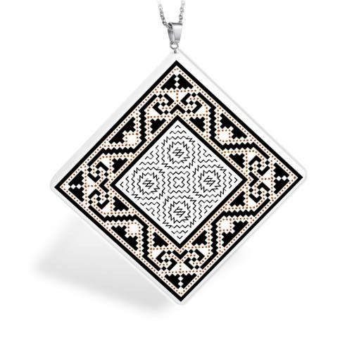 Pandantiv din ceramica si agatatoare argint 925 cu motive populare romanesti  - Muntenia - Zona Muscel - model 2