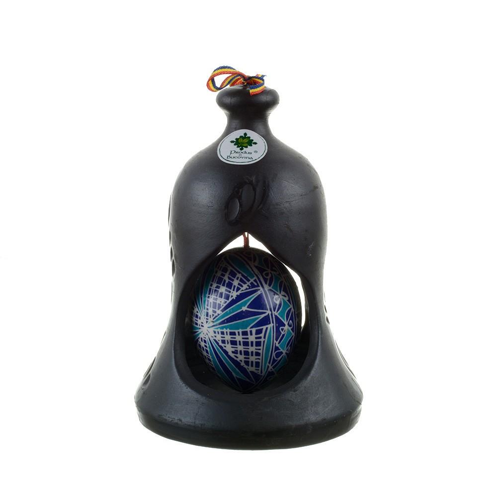 Clopot din ceramica neagra de Marginea cu ou incondeiat manual