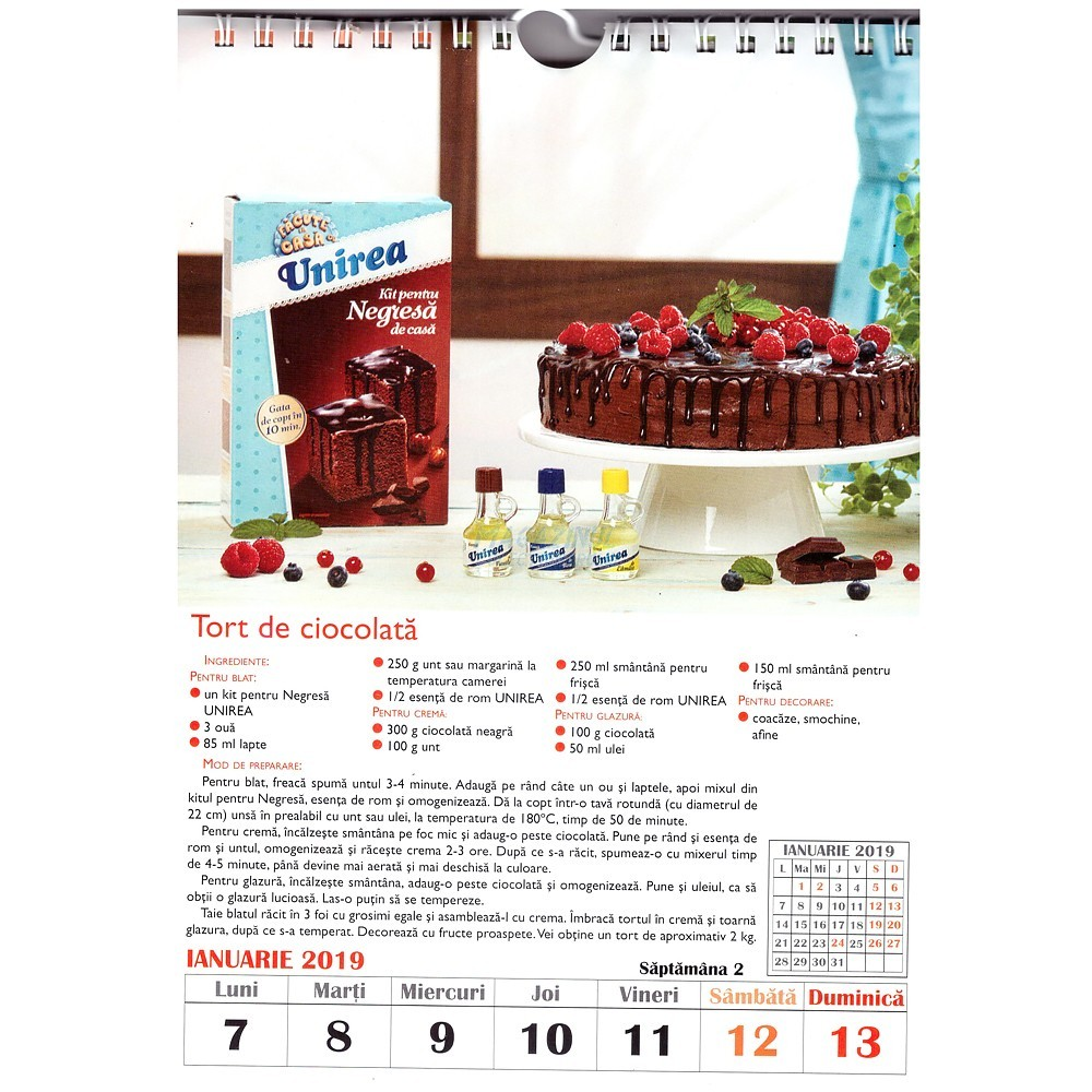 Calendar de bucatarie 2019 saptamanal (53+1 file)